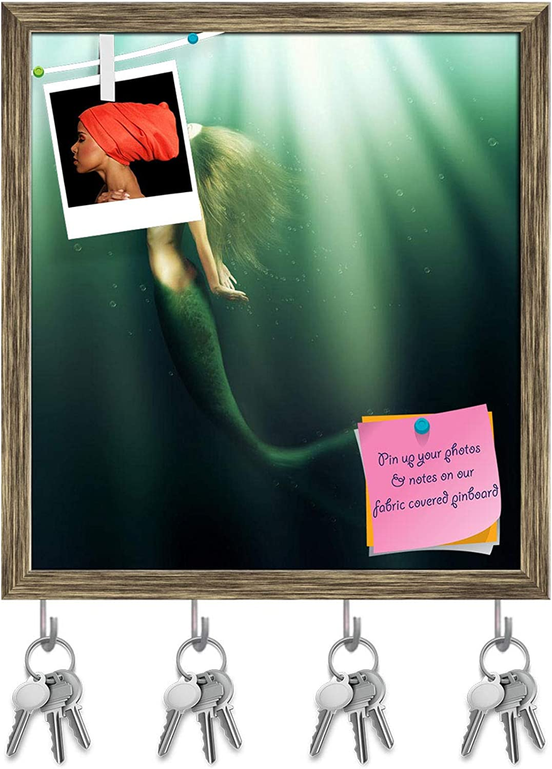 Artzfolio Beautiful Woman with Fish Tail Key Holder Hooks   Notice Pin Board   Antique golden Frame 16 X 17.5Inch