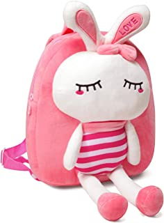 VASCHY Mochila Niña,Mochila Infantil Niñas Escolar Pequeña Felpa Linda de Bolsa para Guarderia con Hebilla de Pecho Coneja