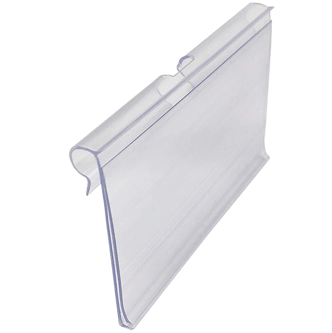 Rusoji 80 Pcs Clear Plastic Wire Shelf Price Label Sign Clip Holder, Clip-On Display Labels Holders for Retail Merchandise Sign Display