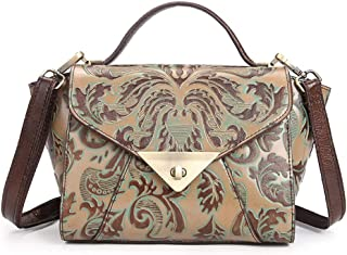 Luxurious Fashion Embossed Leather Women's Handbag Hand-Painted Vintage Pattern Shoulder Bag Outdoor Travel Business Casual Messenger Bag (Color : Green)