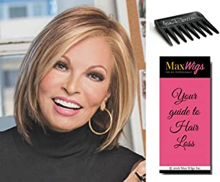 Play It Straight Hairpiece Color R829S - Raquel Welch Women's Wigs Short Layered Bob Sheer Lace Front Mono Part Hand-Tied Bundle with Comb, MaxWigs Hair Loss Booklet