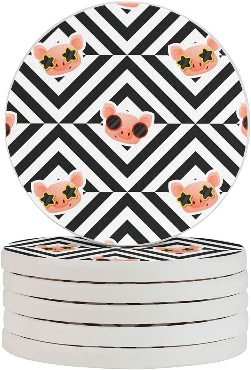 Animal Piggy Round Diatomite Cup 4in Tabl Set for Max 87% OFF Quantity limited Coasters Drink