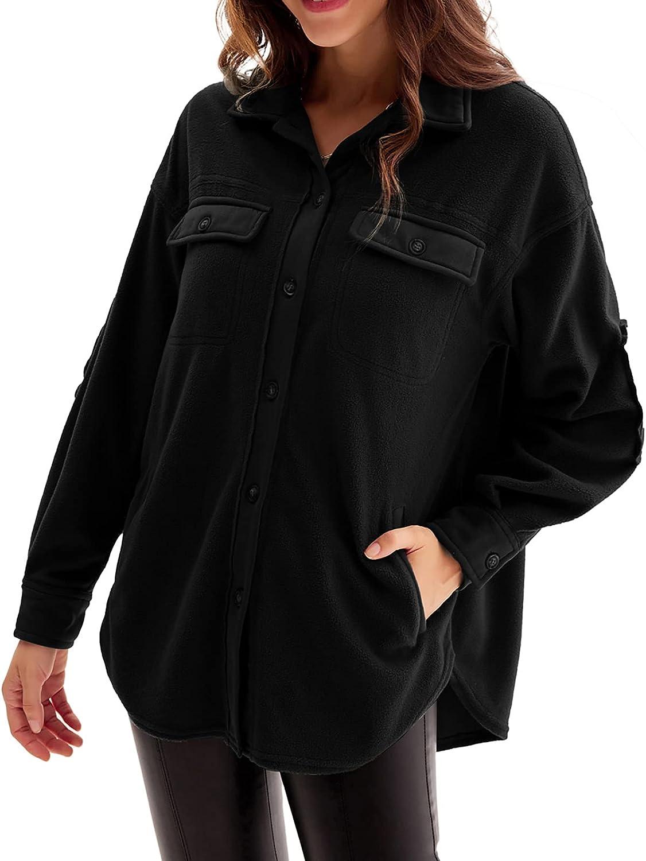 GRACE KARIN Women's Long Sleeve Fleece Jacket Button Down Collar Coat with Slant Pocket Shacket Shirt Tops