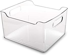 BINO Clear Plastic Storage Bin with Handles - Plastic Storage Bins for Kitchen, Cabinet, and Pantry Organization And Stora...