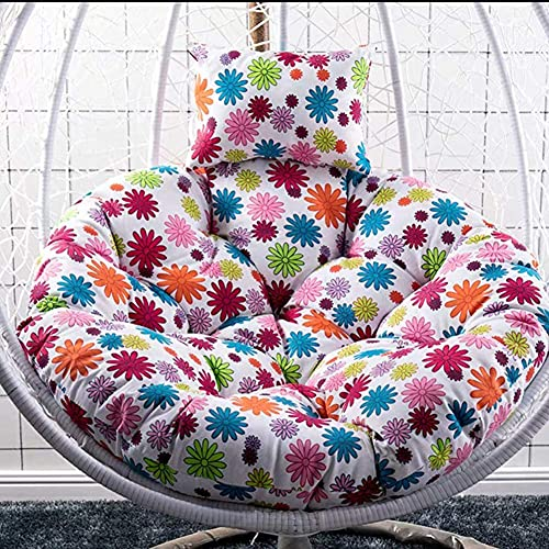 LLKK Cojín redondo para silla Papasan con almohada, cojín grueso para colgar en la silla sin soporte, cojín para silla con nido de huevo para silla exterior Q 105 cm