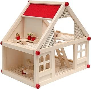 Casa de Muñecas en Madera para niños y niñas | 2 plantas 4 habitaciónes 11 muebles 4 personajes | Casita en miniatura fácil de montar