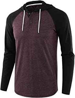 Men T-Shirt Long Sleeve Hooded Sweater Fashion Casual Boutique Sweatshirt Splicing Color Block Thin and Light Comfortable ...