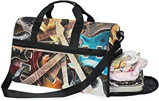 Travel Tote Luggage Weekender Duffle Bag, Electronic Guitars Large Canvas shoulder bag with Shoe Compartment