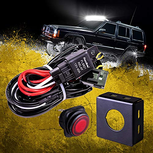 LAMPHUS 13 Off Road LED Light Bar Wiring Harness Kit - Waterproof Switch & Mounting Bracket 30A Fuse 40A Relay (USA Warranty) For ATV