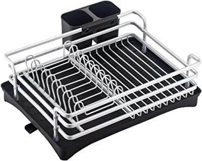 AAKitchen Sink Countertop Dish Drying Rack 3Pcs Aluminum Steel Dish Drainer Dish Racks with Drain Board and Utensil Holder Box (Silver)