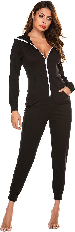 Ekouaer Onesies Zip-up Hoodie Union Jumpsuit One Piece Bodysuits Outfits Sleepwear for Women