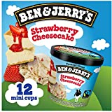 Vermont's Finest Ice Cream, Non-GMO - Fairtrade - Cage-Free Eggs - Caring Dairy - Responsibly Sourced Packaging, Strawberry Cheesecake, 4 Oz. Mini Cups (12 count)