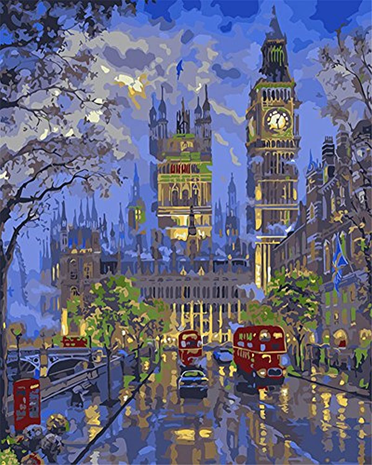 CaptainCrafts New Paint by Numbers 16x20 for Adults, Kids LINEN Canvas - London Night Scene, City Streets (With Frame)