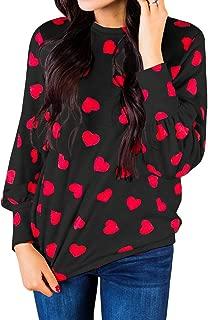 Womens Heart Printed Long Sleeve Tops Tee Shirts
