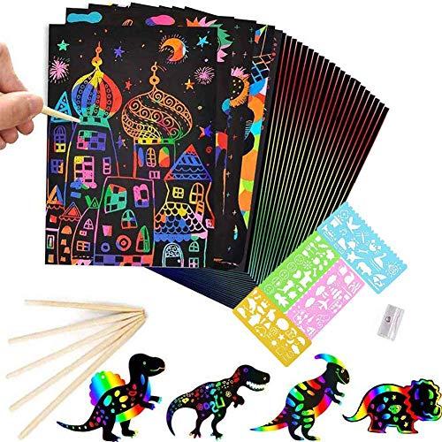 BESTZY Manualidades para Niños, 50 Hojas Scratch Art Cuadernos para Dibujar Papel...