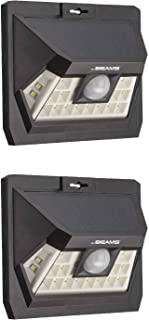 Mr Beams Solar Wedge Max 18 LED Security Outdoor Motion Sensor Wall Light, 2 Pack, Black