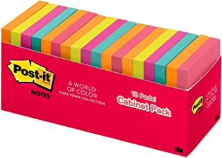 Post-it Notes, Cape Town Colors, Unique Adhesive Designed for Paper, Call out Important Information, 3 in. x 3 in, 18 Pads/Pack, 100 Sheets/Pad (654-18CTCP)