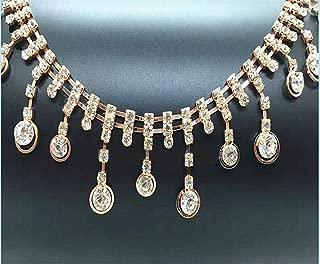 1 Yard Rhinestone Chain Bridal Trim Fringe Crystal Clear Applique Rhinestone Trim Embellish for DIY Wedding Accessories Bag Decor Flower Girl Basket Bridal Dress Belt Sash (Gold)