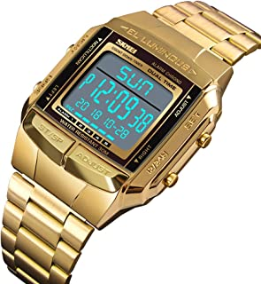 1381 Men Analog Digital Watch Fashion Casual Sports Wristwatch 2 Time 5 Alarm 3ATM Waterproof Stainless Steel Strap Backli...