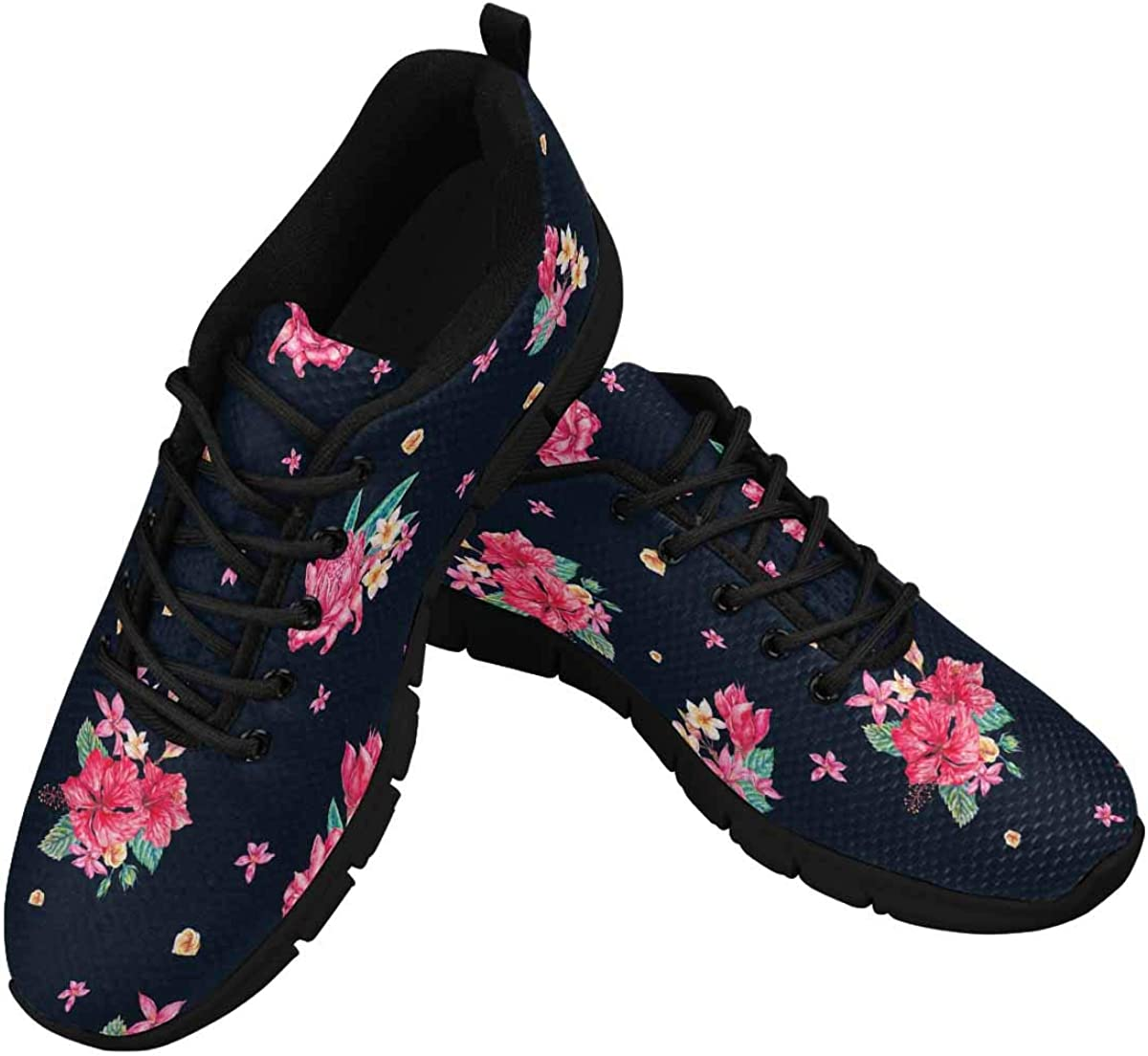 INTERESTPRINT Vintage Tropical Floral Pattern Lightweight Mesh Breathable Sneakers for Women