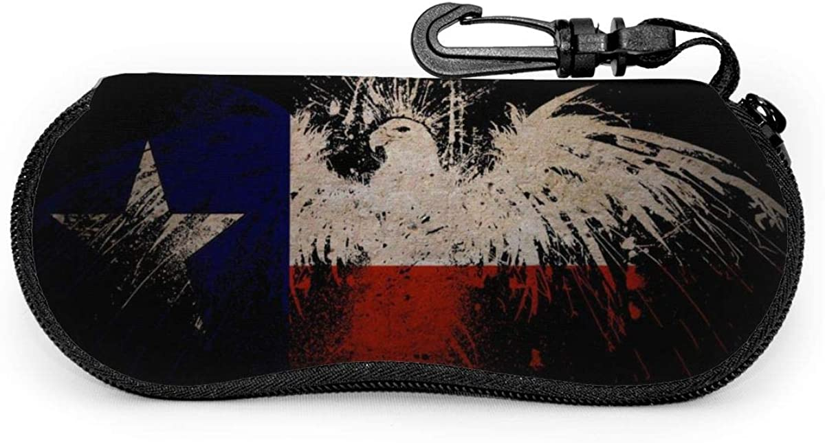 Texas Flag Eagle Sunglasses Soft Case Ultra Light Neoprene Zipper Eyeglass Case With Key Chain