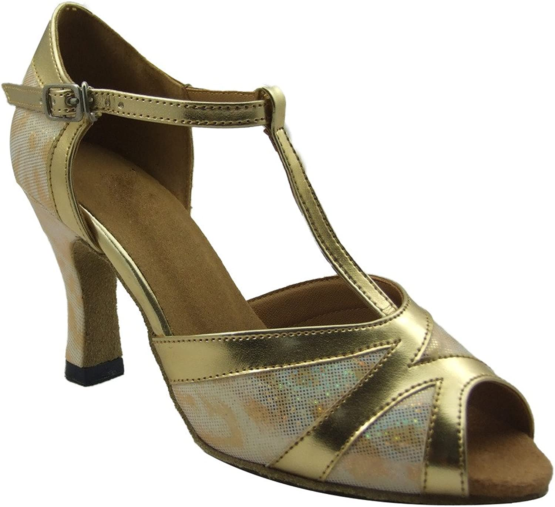 Jig Foo Sandals Open-Toe Latin Salsa Tango Ballroom Dance shoes for Women with 2.2  Heel Silver