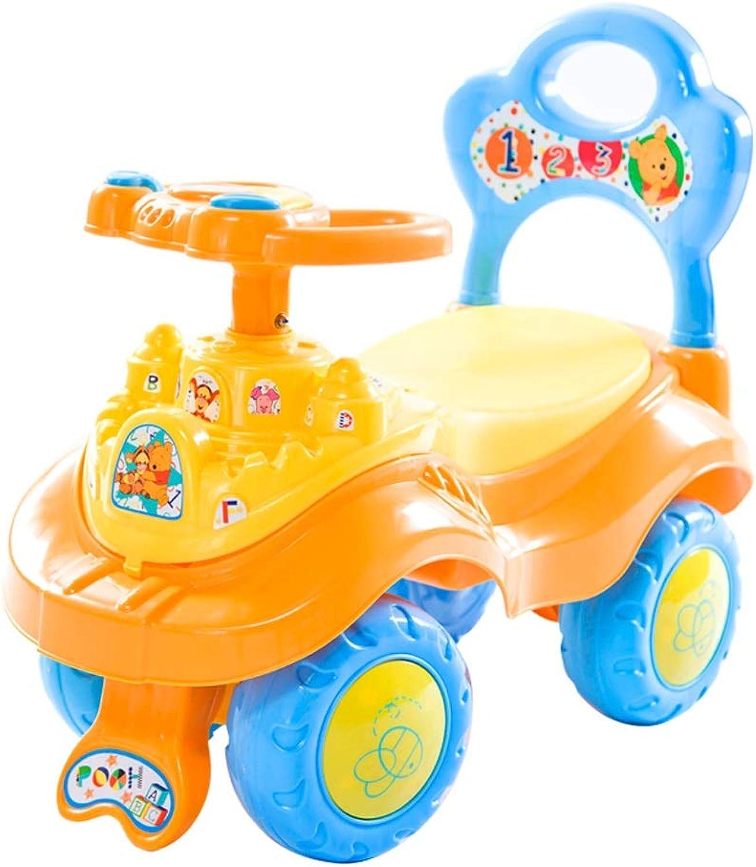 Kinder drehen Auto mit Musik stumm Rad yo Auto Baby Roller 1-3-6 Jahre alt spielzeugauto schaukel Auto FANJIANI (Farbe   Orange)