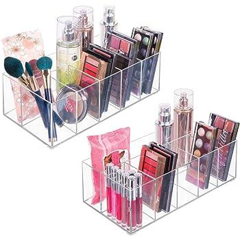 mDesign Organizador de maquillaje – Caja transparente con 6 compartimentos - Ideal para guardar maquillaje, cosméticos y productos de belleza – Plástico transparente: Amazon.es: Hogar