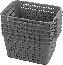 Gloreen Grey Plastic Basket, Weave Storage Baskets Organizer, 6 Packs
