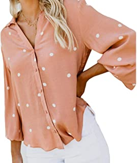 S-Fly Womens Polka Dot Casual Button Down Summer Long Sleeve V Neck Blouse Top Shirts