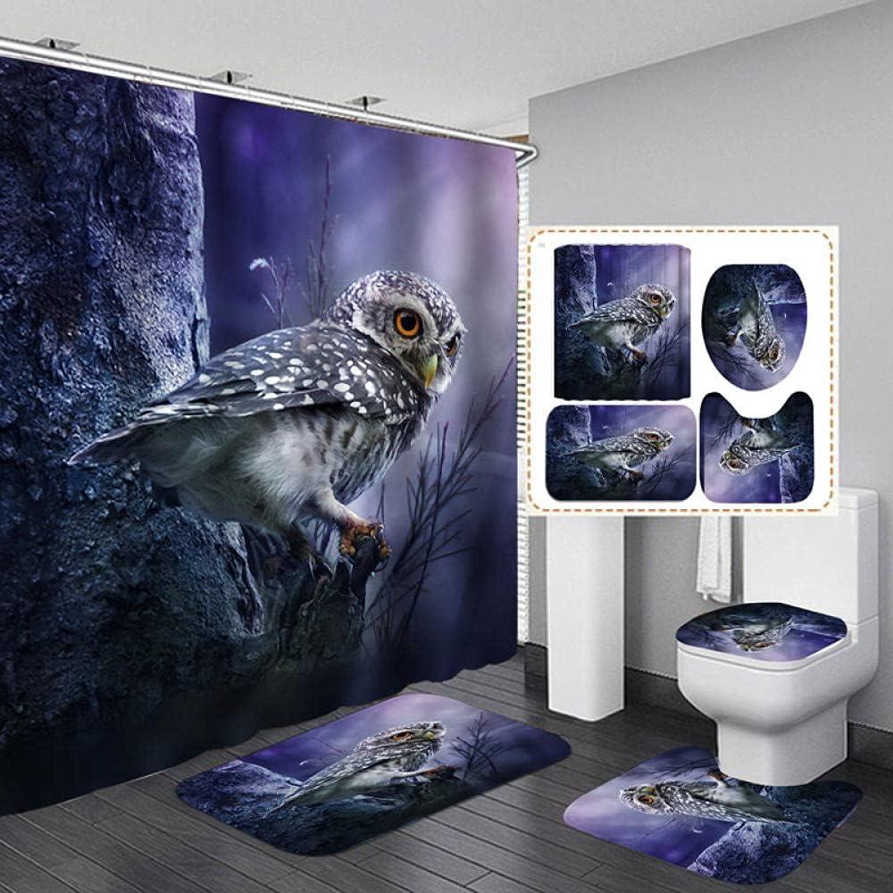 HGFHKL Cute Little Over item handling ☆ owl Polyester Non-Slip Fabric Shower Outstanding Curtain