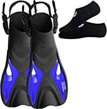 cozia design Snorkel Set with Swim Fins - Snorkel Mask Full Face Foldable and Adjustable Snorkel Fins – Snorkel Set Adult 180 Full Face Snorkel Mask with Go Pro Mount Foldable Tube and Flippers