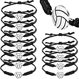 Hicarer 12 Pieces Volleyball Rope Bracelet Adjustable Woven Jewelry with Volleyball Charm Volleyball Player Bracelets for Female Volleyball Team (Black)