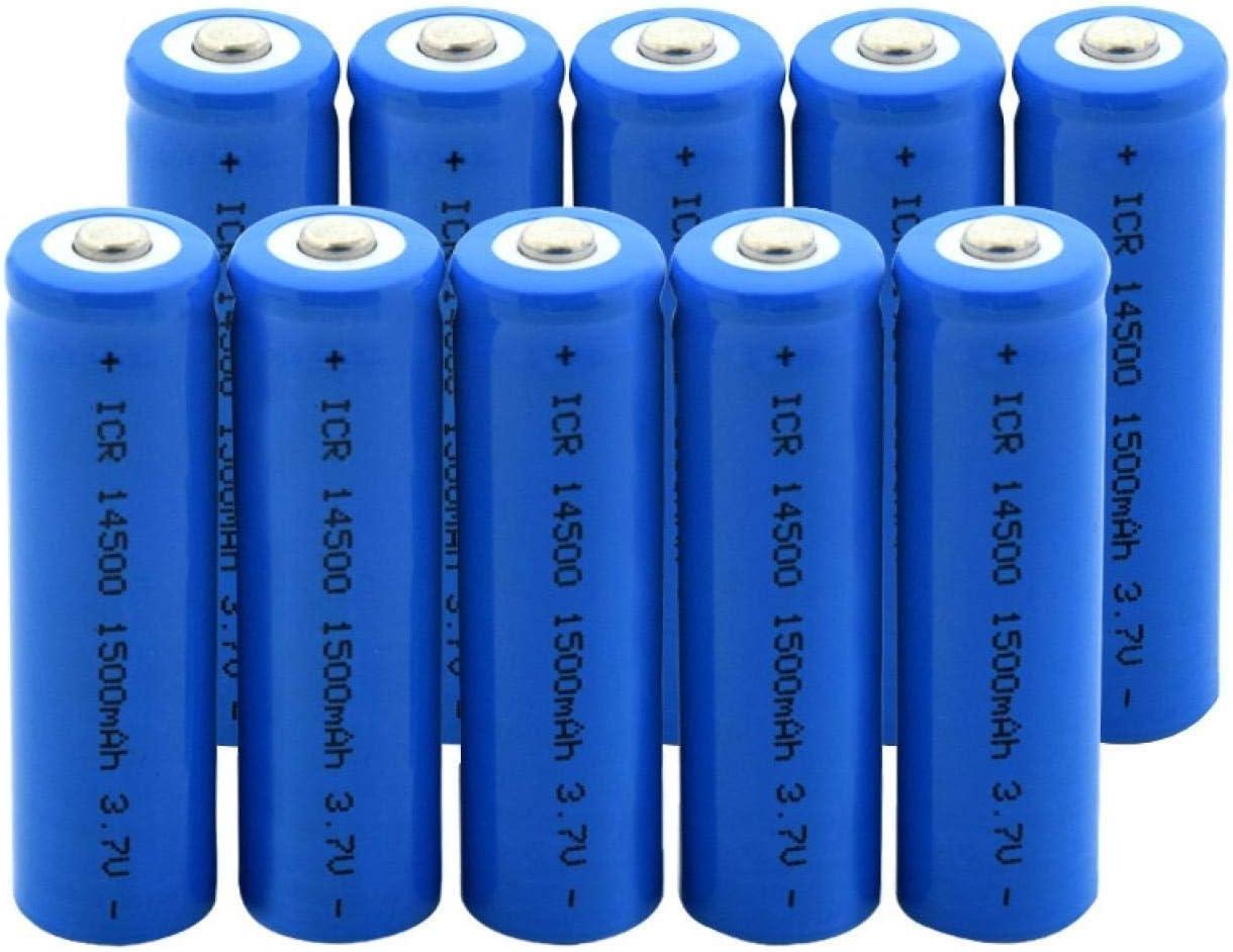 TTCPUYSA 3.7v 1500mah ICR 14500 Batería De Iones De Litio De Litio Recargable para Linterna Led Faros MicróFono Radio 10pcs