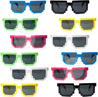 Kicko Colorful Pixel Glasses - 12 Pack Unisex Gamer Reflective Lens in Assorted Colors - Ideas, Costume Props, Party Favor...