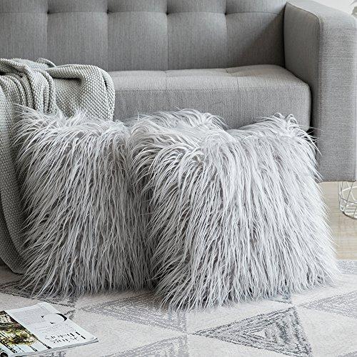 MIULEE 2er Set Soft Solid Dekorative Quadrat Pelz Throw Kissenbezüge Set Kissen Fall für Sofa Schlafzimmer Auto 18x18 inch 45x45 cm
