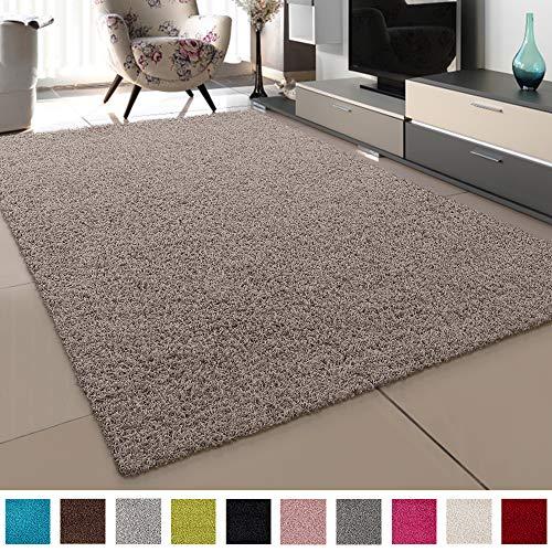 SANAT Teppich Wohnzimmer - Beige Hochflor Langflor Teppiche Modern, Größe: 200x290 cm