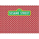 Red Brick Wall Background Backdrop for Photography 7x5 Vinyl Green Sesame Street Themed Banner Photo Backdrop for Baby 1st Birthday Party Decor