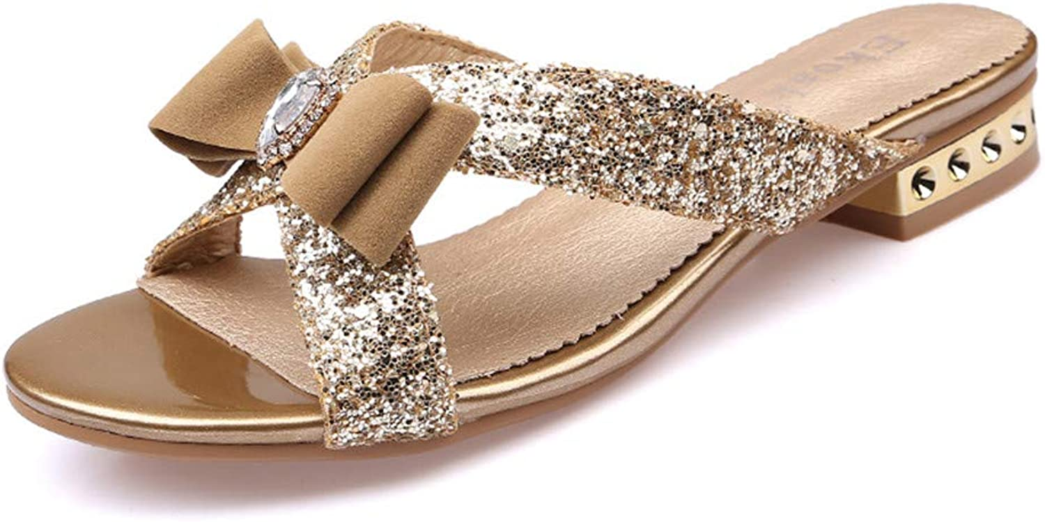 Kengly Fashion Women Sandals Ladies Sexy Crystal Bling Bowtie Party Dress shoes Woman Summer Beach shoes Girls Slides