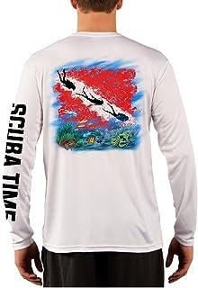 تي شيرت رجالي من GAMEFISH USA بأكمام طويلة من الألياف الدقيقة ماص للرطوبة بتقنية الأداء وصيد السمك