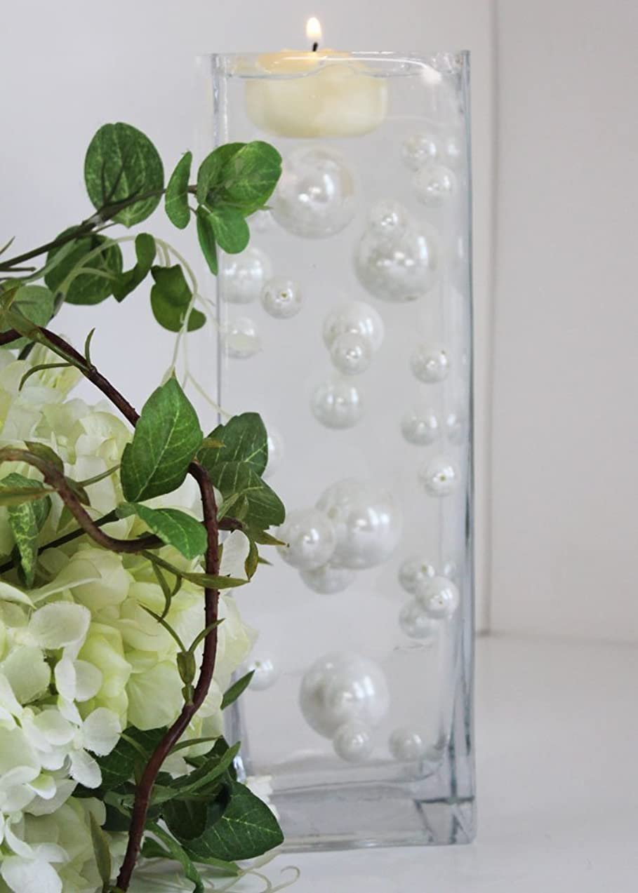 34 White Pearl Beads -Unique Vase Filler with Free JellyBeadZ Gel