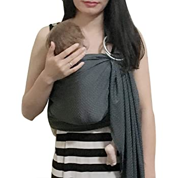 Vlokup Baby Water Ring Sling Carrier | Lightweight Breathable Mesh Baby Wrap for Infant, Newborn, Kids and Toddlers | Perfect for Summer, Swimming, Pool, Beach | Great for Dad Too Grey