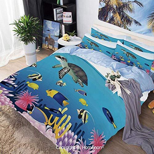Juego de funda nórdica de 3 piezas Tela de microfibra, Ilustración de tortugas de anémona de mar Snorkel Goldfish Snorkel Dibujos animados de paisaje marino tropical, para habitación de huéspedes, Ama