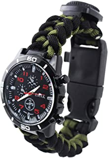 Military Watches - Decorative Sub-Dials Compass Paracord Rope Bracelet Watches for Men Army Green-Black