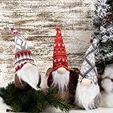 GMOEGEFT Swedish Christmas Gnome Plush, Scandinavian Santa Gnome Tomte, Table Ornaments, Holiday Decorations, 12 Inches, Set of 3 (H)