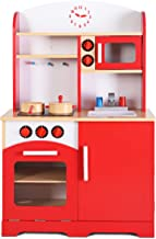 Giantex Wooden Kitchen Playset w/ Cookware Accessories, Prentend Cooking Food Set for Kids, Fun with Friend, Easily Assemble Children Play Kitchen Toy, Red