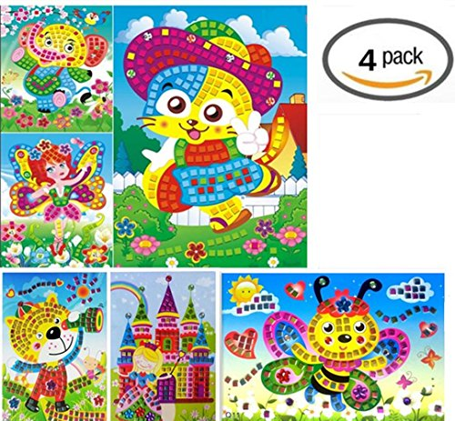 Vytung Mosaic Sticker Art Kits for Kids Animals Elephant Cat Butterfly Flower(Pack of 4)