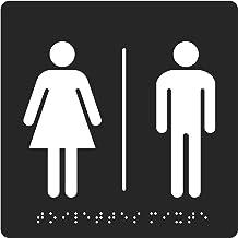 Pavo 8055951 deurbordje WC dames en heren met blindschrift, 150 x 150 x 2 mm