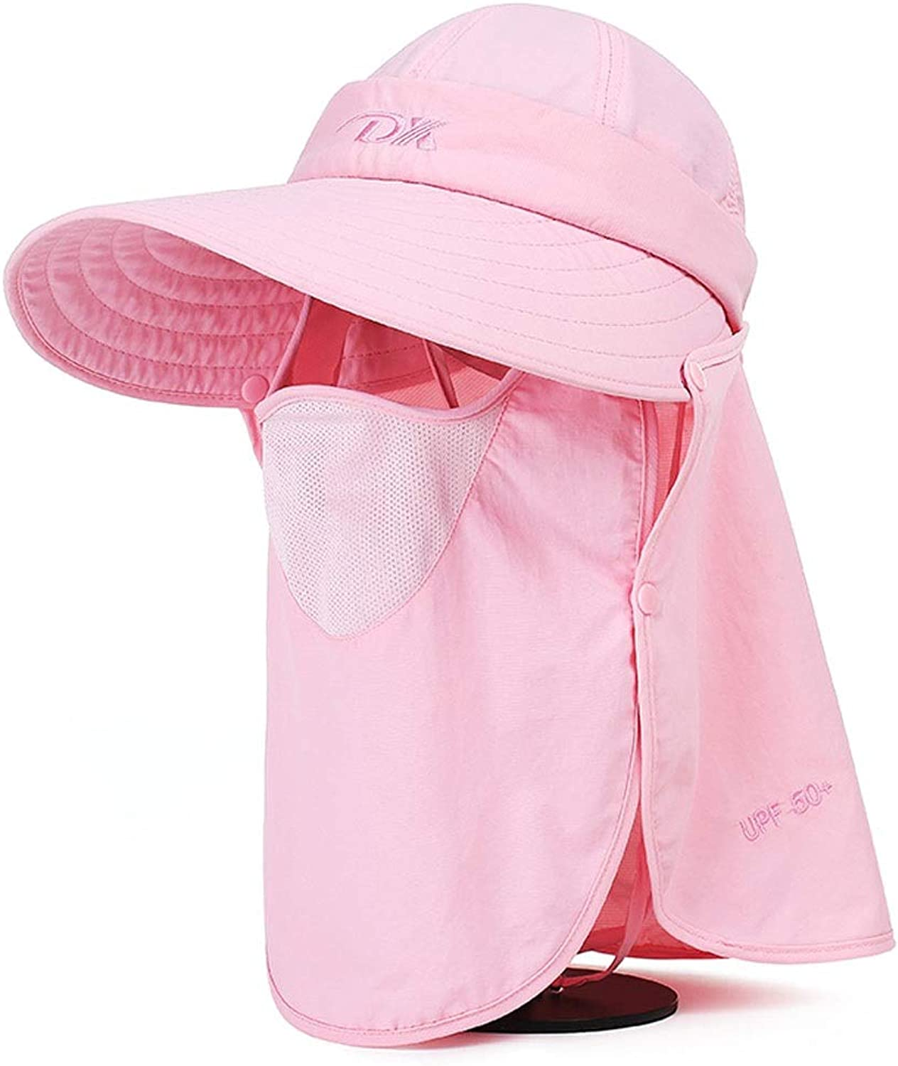 Sun Predection Hat, Female, Summer, Outdoor Travel Cycling Face Visor, UV Predection Sun Hat Foldable (color   Pink)