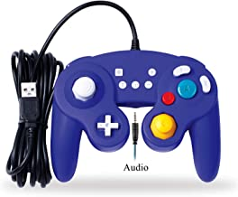 EXLENE Audio Wired USB Controller for Nintendo Switch with Audio Function (3M/10FT), Compatible with PC/PS3, GameCube Style, Motion Controls, Rumble, Turbo (Blue)